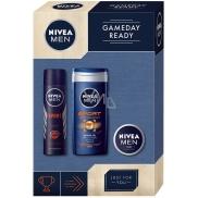 Nivea Men Gameday Sport sprchový gel pro muže 250 ml + antiperspirant sprej pro muže 150 ml + Creme krém 30 ml, kosmetická sada