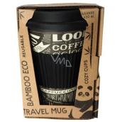 Cozy Time Bamboo Eco Chalkboard bambusový ekologický termohrnek + silikonové víčko černý - nápisy 450 ml