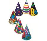Kloboučky Různobarevný potisk, karnevalový 6 ks