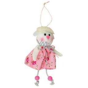 Ovce růžová v květované sukni 15 cm