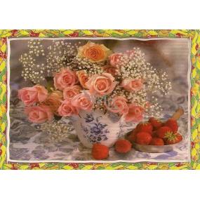 Nekupto Pohlednice PC-růžové růže a jahody