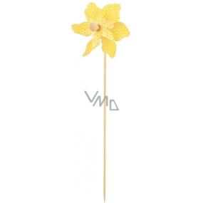 Větrník s kytičkami žlutý 9 cm + špejle 1 kus