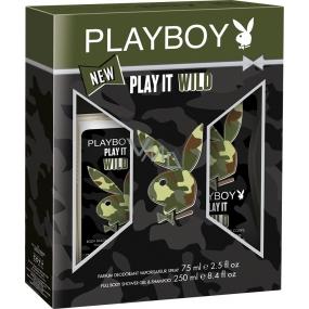Playboy Play It Wild for Him parfémovaný deodorant sklo 75 ml + sprchový gel 250 ml, kosmetická sada