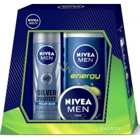 Nivea Energy sprchový gel 250 ml + Silver Protect Polar Blue antiperspirant deodorant sprej 150 ml + univerzální krém pro muže 30 ml,pro muže, kosmetická sada