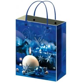 Anděl Taška vánoční dárková modrá, bílá svíčka XL 45,5 x 33 x 10,5 cm