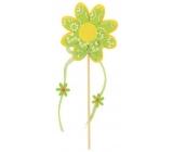 Květ z filcu zelený s bílým dekorem zápich 8 cm + špejle