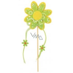 Květ z filcu zelený s bílým dekorem 8 cm + špejle