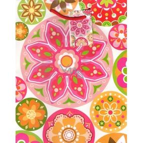 Nekupto Dárková papírová taška střední 23 x 18 x 10 cm květiny, ornamenty 1053 30 BM