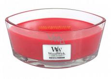 WoodWick Radish and Rhubarb - Ředkev a Rebarbora vonná svíčka s dřevěným širokým knotem a víčkem sklo loď 453 g