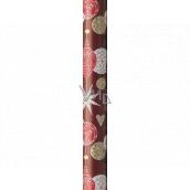 Präsenta Dárkový balicí papír 70 cm x 5 m Vánoční vínový se zavěšenými baňkami, srdci a hvězdičkami