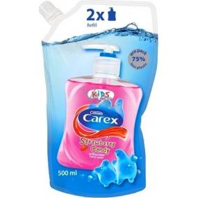 Carex Strawberry Candy Kids Jahoda antibakteriální tekuté mýdlo náhradní náplň 500 ml