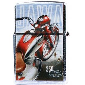 Bohemia Retro zapalovač kovový benzínový s potiskem Motorka Jawa 5,5 x 3,5 x 1,2 cm