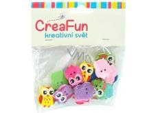 CreaFun Dřevěné knoflíky Sova mix barev 1,7 x 2 cm 20 kusů