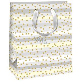 Ditipo Dárková papírová taška šedo-bílá, pruhovaná, zlatá kolečka 26,4 x 13,6 x 32,7 cm QAB Glitter