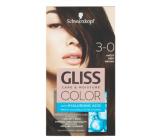 Schwarzkopf Gliss Color barva na vlasy 3-0 Hnědý 2 x 60 ml