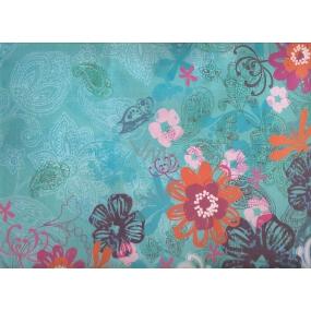Nekupto Dárková kraftová taška střední 32,5 x 26 x 13 cm tyrkys barevné květy, 334 CL