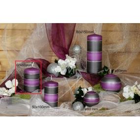 Lima Elegance Gray svíčka fialová válec 60 x 90 mm 1 kus