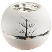 Skleněný svícen bílostříbrný 8 cm