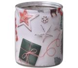 Bolsius Vánoční motivy vonná svíčka ve skle 68 x 80 mm, doba hoření 23 hodin