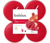 Bolsius True Scents Pomegranate - Granátové jablko maxi vonné čajové svíčky 8 kusů, doba hoření 8 hodin