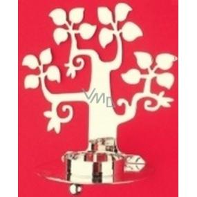 Kovový svícen stříbrný listnatý strom, na čajovou svíčku 13 cm