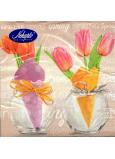 Nekupto Papírové ubrousky Velikonoční Tulipány ve vázičce, nápis Spring 3 vrstvé 33 x 33 cm 20 kusů