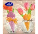 Nekupto Velikonoční papírové ubrousky Tulipány ve vázičce, nápis Spring 3 vrstvé 33 x 33 cm 20 kusů