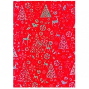 Ditipo Dárkový balicí papír 70 x 150 cm Vánoční červený holografický stříbrný potisk