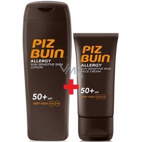 Piz Buin Allergy Sun Sensitive Skin SPF50+ opalovací mléko 200 ml + Piz Buin Allergy Sun Sensitive Face SPF50+ opalovací krém na obličej 50 ml, duopack