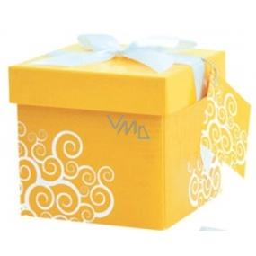 Dárková krabička skládací s mašlí 01 Žlutá XS 10x10x10 cm