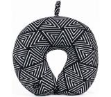 Albi Masážní cestovní polštář Geometrický vzor černobílý 30 x 28 x 10 cm