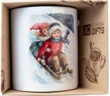 Bohemia Gifts Keramický hrnek s obrázkem Děti na saních 350 ml