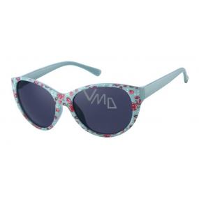 Dudes & Dudettes Sluneční brýle pro děti tyrkysové s kytičkami DD26003