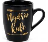 Albi Hrnek se zlatým textem Nejdřív kafe černý 300 ml