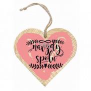 Bohemia Gifts & Cosmetics Dřevěné dekorační srdce s potiskem Navždy spolu 12 cm