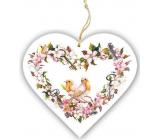 Bohemia Gifts Dřevěné dekorační srdce s potiskem Dva ptáčci 13 cm