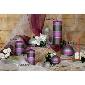 Lima Elegance Gray svíčka fialová koule průměr 80 mm 1 kus