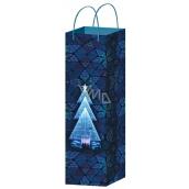 Anděl Taška vánoční dárková na lahev modrá stromek F 36 x 12 x 9 cm