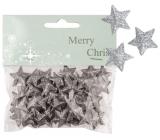 Hvězdičky s glitry 50ks stříbrné, 2cm