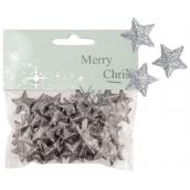 Hvězdičky s glitry 50 ks stříbrné, 2 cm