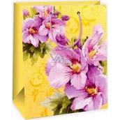 Ditipo Dárková papírová taška velká žlutá, fialové květy 26,4 x 13,7 x 32,4 cm AB
