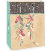 Ditipo Dárková papírová taška béžová, peříčka 22 x 10 x 29 cm Kraft 40