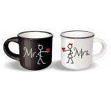 Nekupto Párové mini hrníčky Mr. x Mrs. výška 5,5 cm, průměr 6,5 cm