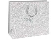 Ditipo Dárková papírová taška Glitter stříbrná 31 x 12 x 26 cm