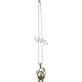 Bižuterie Náhrdelník bronzový s přívěškem motýl 40 cm