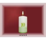 Lima Jubilejní 10 let svíčka bílá zdobená 50 x 100 mm 1 kus