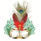 Škraboška plesová zlatá s červeným peřím 30 cm