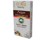 Victoria Beauty Argan Depilační voskové pásky na obličej a oblast bikin s arganovým olejem 20 kusů + 2 ubrousky 22 kusů