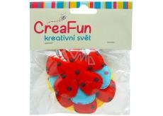 CreaFun Textilní dekorace Květina mix barev 5,5 cm 5 kusů