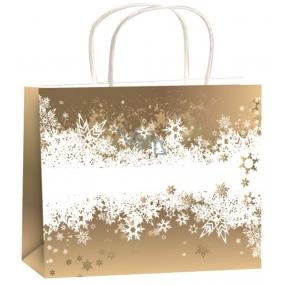 Anděl Dárková papírová taška 23 x 18 x 10 cm zlatá-bílý pás vloček M horizont